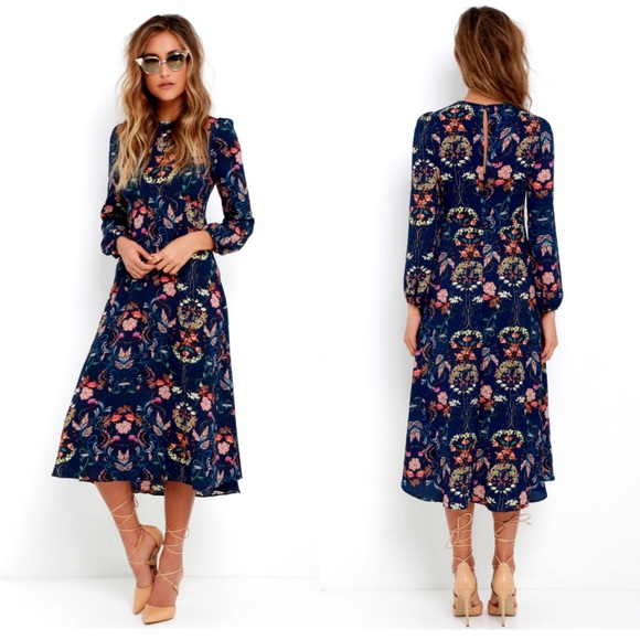 1d6f5fb18c12 Lulu's Dresses | Lulus I Madeline Navy Floral Long Sleeve Dress ...